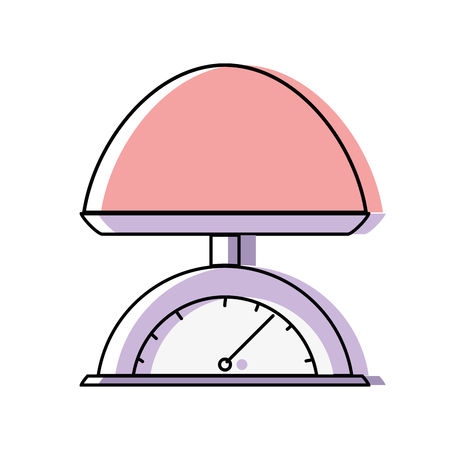 A colored illustration of baby weighing scale machine balance tool Ilustração