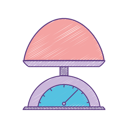 Colored illustration of baby weighing scale  machine balance tool