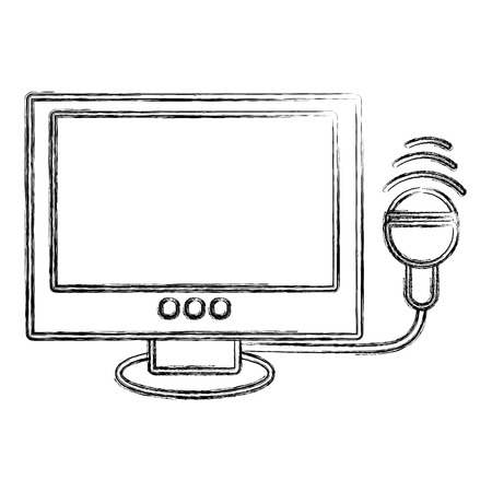 Outline figure of  ultrasound monitor a medical diagnostic equipment for baby examination and other diagnosis