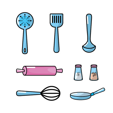 skimmer: set kitchen utensils and traditional object vector illustration