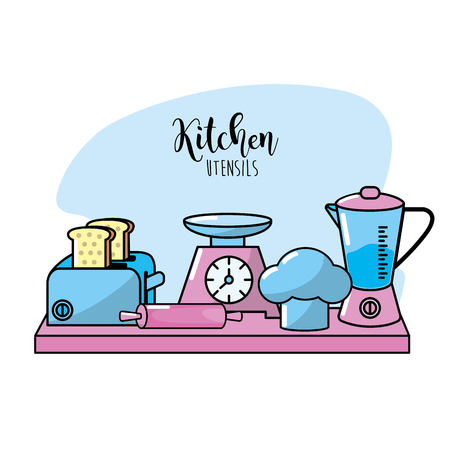kitchen utensils elements culinary collection vector illustration Illustration