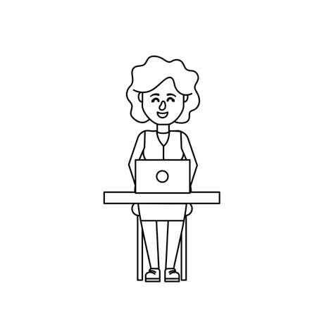 woman laptop: line profesional businesswoman with laptop and corporate job