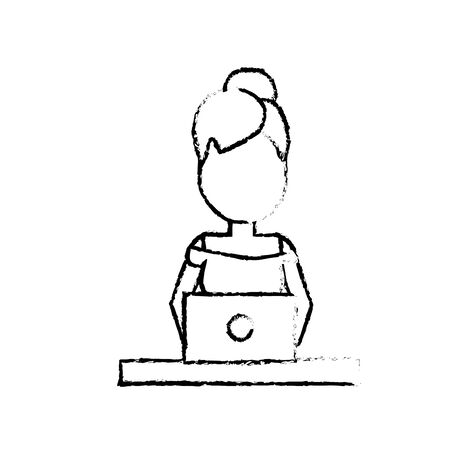 woman laptop: figure profesional businesswoman with laptop and corporate job