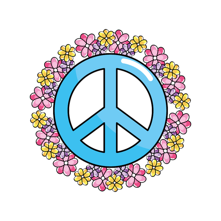 Hippie emblem symbol of peace and love, vector illustration.