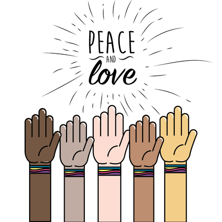 People hand to peace worldwide liberation vector illustration.