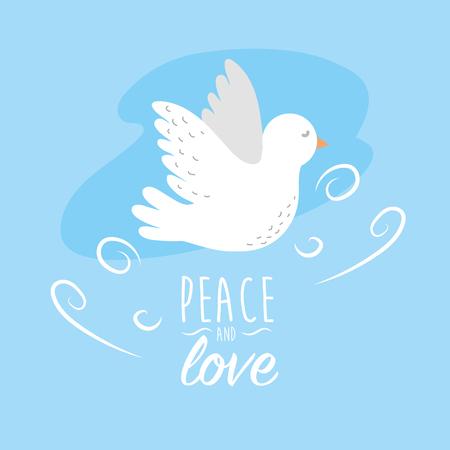 Peaceful dove to worldwide harmony element, vector illustration. Ilustração