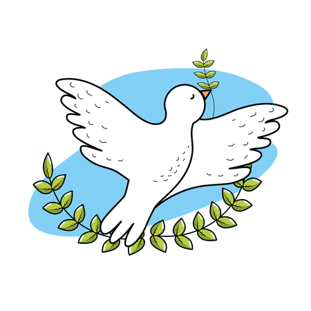 Peaceful dove to worldwide harmony element, vector illustration. Ilustração