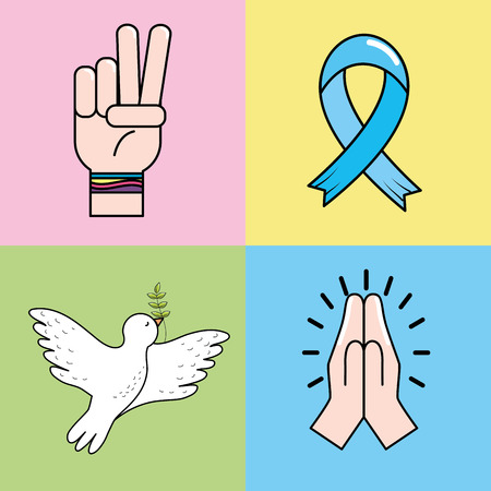 ribbon: Set peace hand symbol to global harmony, vector illustration.