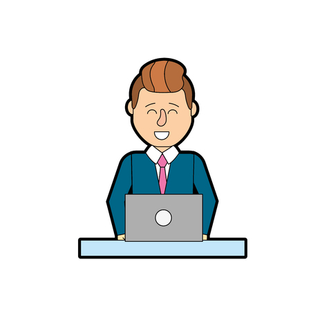 business team: Professional businessman with laptop and corporate job vector illustration
