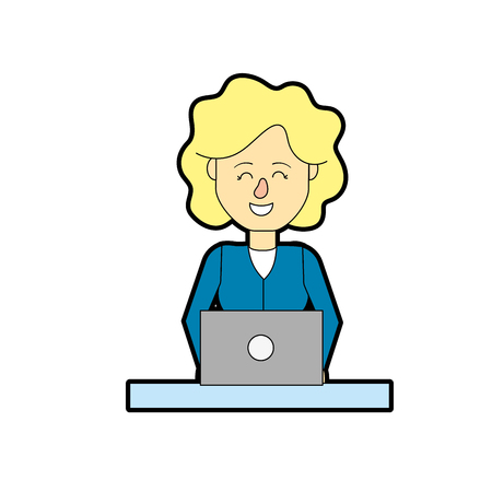 business team: A professional businesswoman with laptop and corporate job vector illustration. Illustration