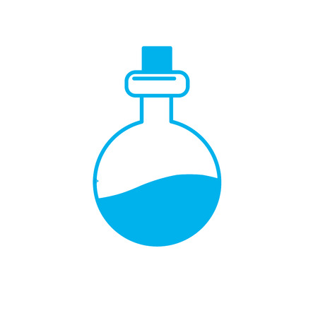 silhouette erlenmeyer flak with chemical potion experiment vector illustration