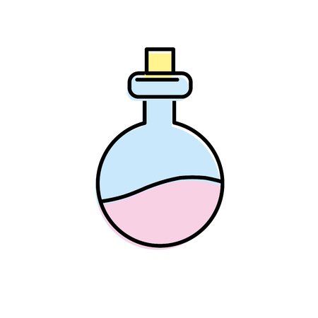 An erlenmeyer flak with chemical potion experiment vector illustration. Illustration