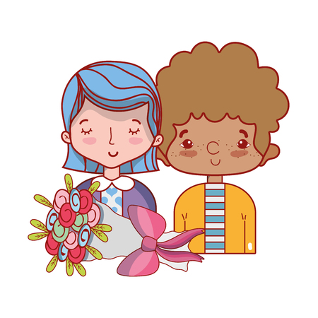 Beautiful couple together with hairstyle design vector illustration