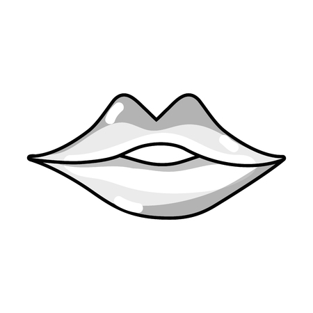 line sexy girl lips with fashion makeup vector illustration