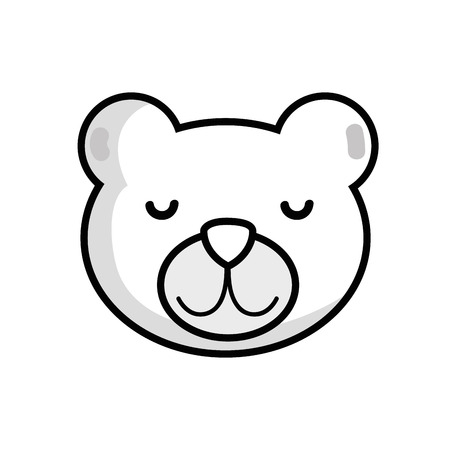 line cute teddy bear head design vector illustration