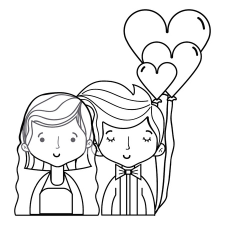 wedding couple: Beautiful couple married with hairstyle design Illustration