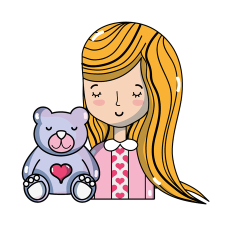 Woman with hairstyle and teddy bear