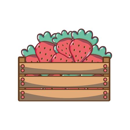 Delicious strawberries fruits inside basket Illustration