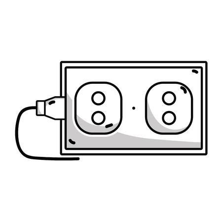 unplug: Line electric plug power technology connect. Illustration