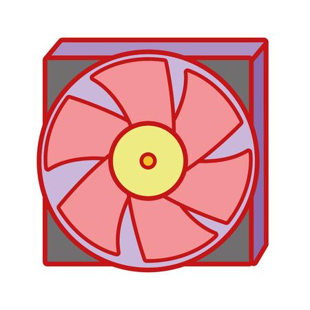 Technology hard drive fan processor Illustration