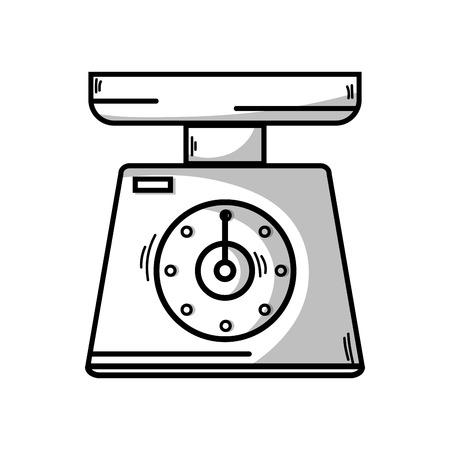 Line scale weight machine kitchen utensil vector illustration.