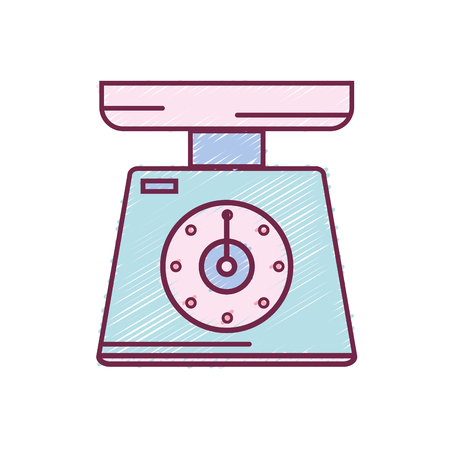 Scale weight machine kitchen utensil vector illustration. Ilustração