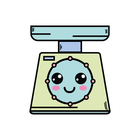 Cute happy weighing machine vector illustration Illustration