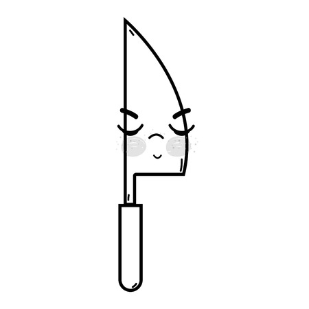 Line cute angry kitchen utensil vector illustration