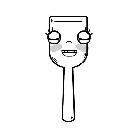 Line cute happy kitchen utensil vector illustration.
