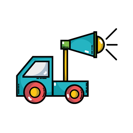 Trunk with megaphone to company strategy business vector illustration Illustration