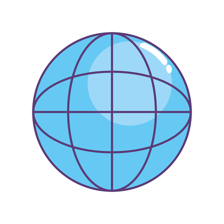 Global symbol to data center connection vector illustration.