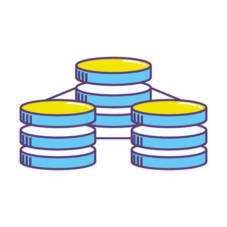host: Database technology system information service vector illustration. Illustration