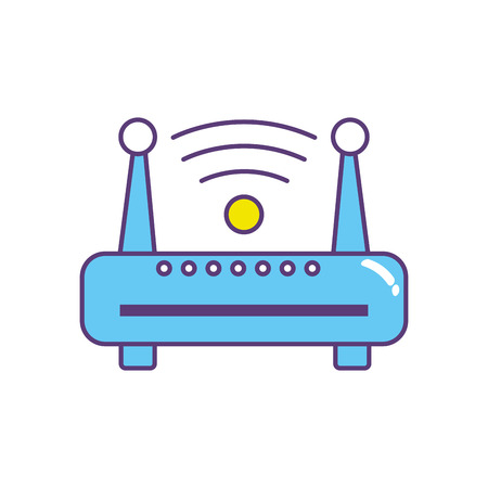 Router wireless connection network technology icon. Vectores