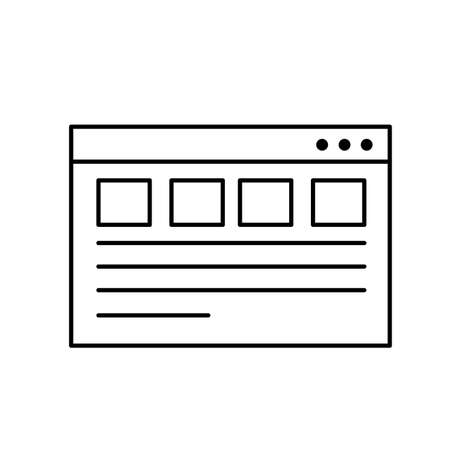 html: Line website page and global technology element vector illustration.