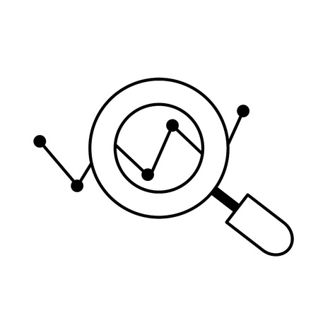 Line magnifying glass tool and search symbol vector illustration. Illustration