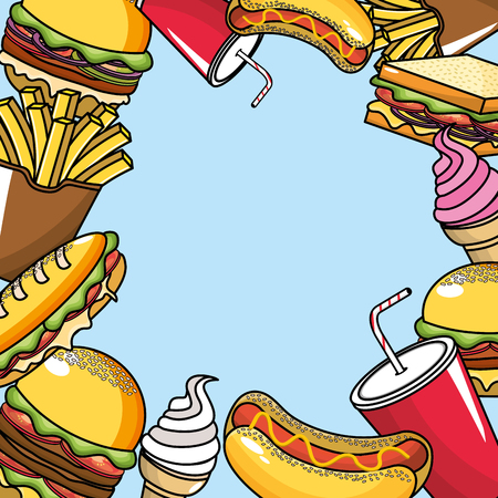 cornet: Delicious fast food with ice cream, soda and coffee, vector illustration