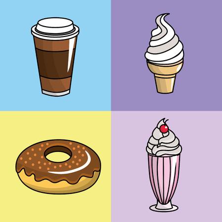 cornet: Tasty coffee, donut and ice cream, vector illustration