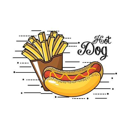 crunchy: tasty fries french and hot dog
