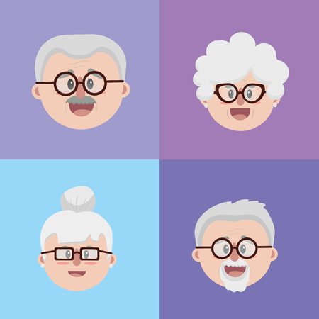 Set Gesichter der alten Leute Standard-Bild - 84364332