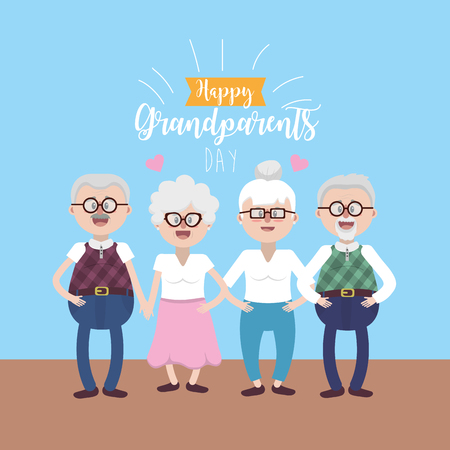 gandparents couples with glasses and hairstyle