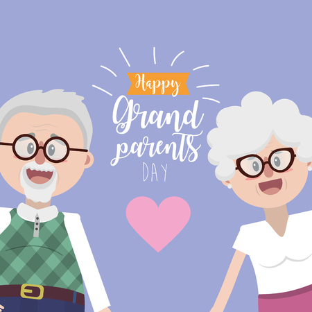 grandparents together with glasses and hairstyle Vettoriali