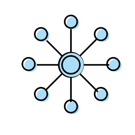 host: Circuit data technology to center server vector illustration.