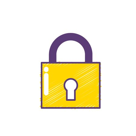 padlock tool that protect importans elements vector illustration
