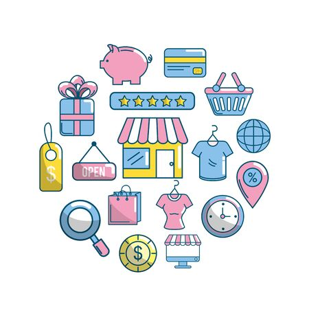 set shopping online to marketing ecommerce vector illustration