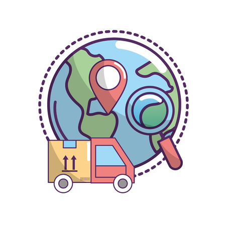 delivery transportation to package order service vector illustration