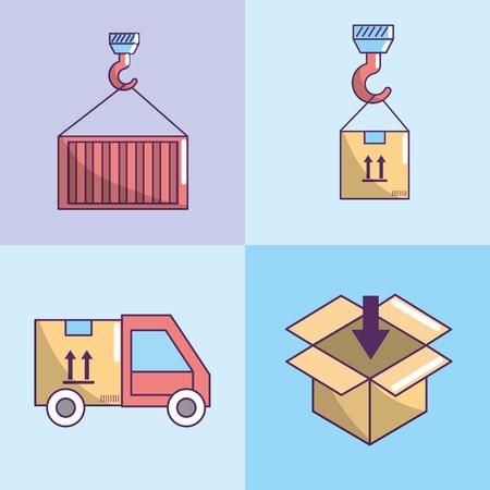 set delivery service fast transportation vector illustration