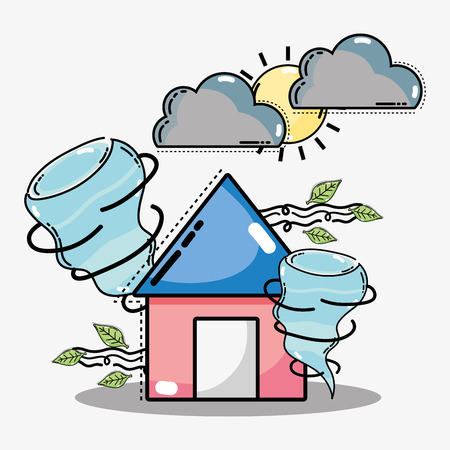 A weather natural conditions with differing temperatures. Illustration