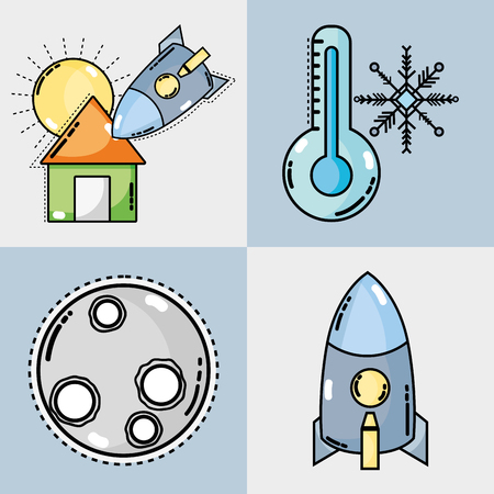 Set weather conditions and natural temperature vector illustration. Illustration