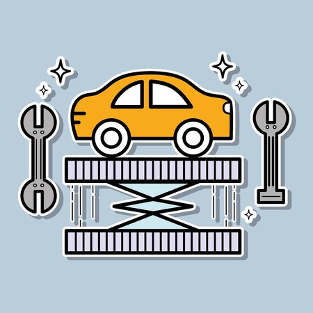Station service with mechanic to repair the car vector illustration. Illustration