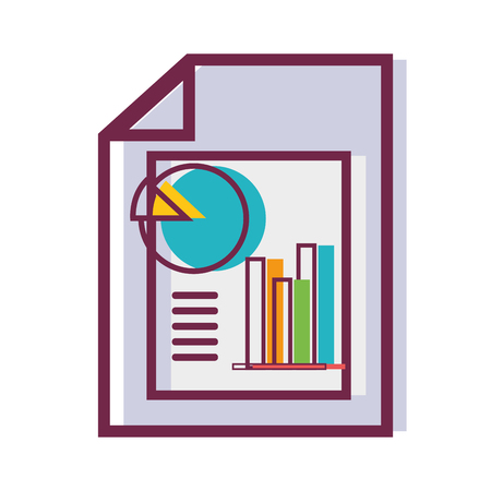 Document with statistics bar diagram graph vector illustration.